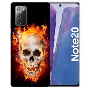 Samsung Galaxy Note 20 TPU Silikon Hülle mit Bilddruck Totenschädel Feuer