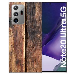 Samsung Galaxy Note 20 Ultra TPU Hülle mit Bilddruck HolzOptik
