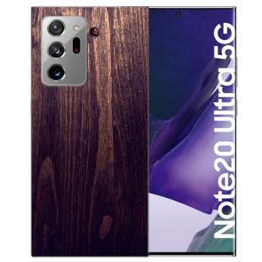 Samsung Galaxy Note 20 Ultra TPU Hülle mit Bilddruck HolzOptik Dunkelbraun