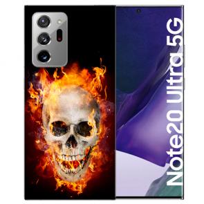 Samsung Galaxy Note 20 Ultra TPU Hülle mit Bilddruck Totenschädel Feuer