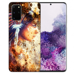 Samsung Galaxy A91 Silikon TPU Hülle mit Bilddruck Indianerin Porträt