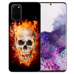 Samsung Galaxy A91 Silikon TPU Hülle mit Bilddruck Totenschädel Feuer