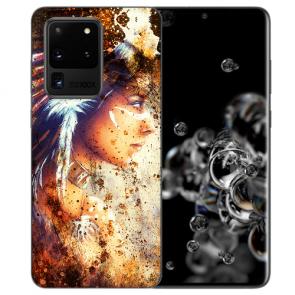 Samsung Galaxy S20 Ultra Silikon Hülle mit Indianerin Porträt Bilddruck