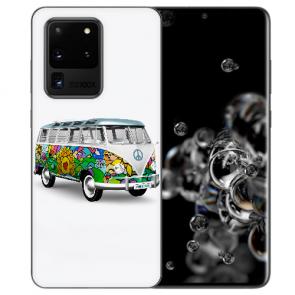 Samsung Galaxy S20 Ultra Silikon Hülle mit Bilddruck Hippie Bus