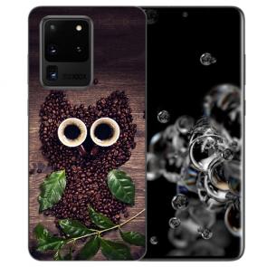 Samsung Galaxy S20 Ultra Silikon Hülle mit Kaffee Eule Bilddruck