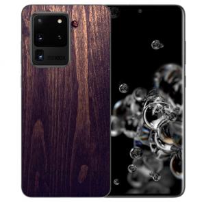 Samsung Galaxy S20 Ultra Silikon TPU Hülle mit HolzOptik Dunkelbraun Fotodruck