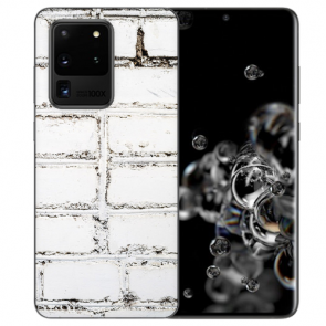 Samsung Galaxy S20 Ultra Silikon TPU Hülle mit Weiße Mauer Fotodruck
