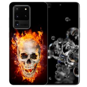 Samsung Galaxy S20 Ultra Silikon Hülle mit Totenschädel Feuer Bilddruck