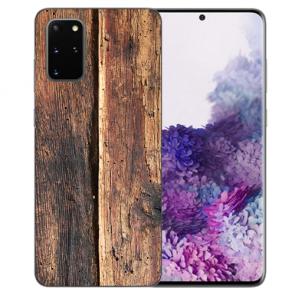 Samsung Galaxy S20 Plus Silikon TPU Hülle mit Bilddruck HolzOptik