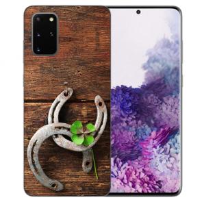 Samsung Galaxy S20 Plus TPU Hülle mit Bilddruck Holz hufeisen