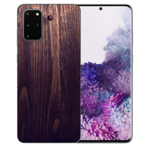 Samsung Galaxy S20 Plus TPU Hülle mit Bilddruck HolzOptik Dunkelbraun