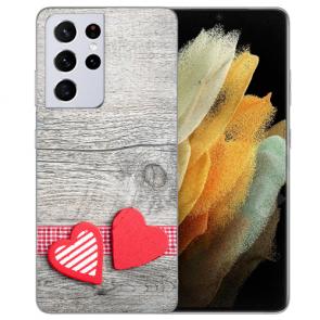 Samsung Galaxy S21 Ultra Silikon TPU Hülle mit Fotodruck Herzen auf Holz