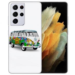 Samsung Galaxy S21 Ultra Silikon TPU Hülle mit Fotodruck Hippie Bus