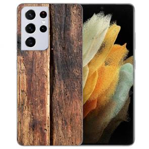 Samsung Galaxy S21 Ultra Silikon TPU Hülle mit Fotodruck HolzOptik