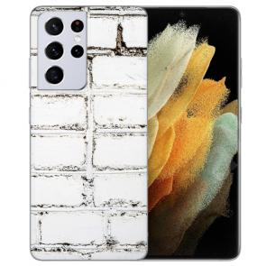 Samsung Galaxy S21 Ultra Silikon TPU Hülle mit Bilddruck Weiße Mauer