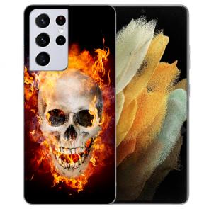 Samsung Galaxy S21 Ultra Silikon TPU Hülle mit Fotodruck Totenschädel Feuer