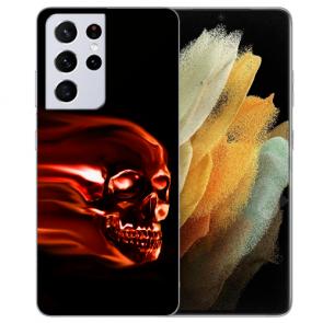 Samsung Galaxy S21 Ultra Silikon TPU Hülle mit Fotodruck Totenschädel