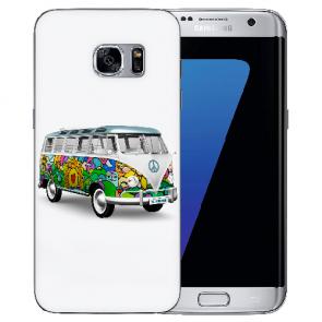 Samsung Galaxy S6 Edge Silikon Hülle mit Bilddruck Hippie Bus Etui