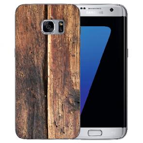 Samsung Galaxy S6 Edge Plus TPU Silikon Hülle mit Fotodruck HolzOptik
