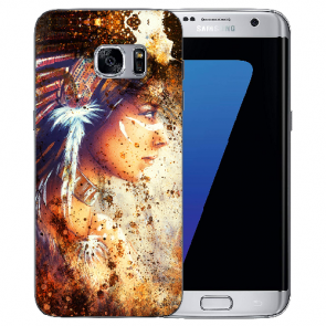 Samsung Galaxy S7 Edge Silikon TPU Hülle mit Fotodruck Indianerin Porträt