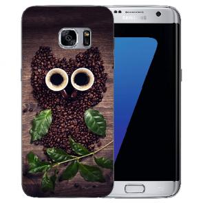 Samsung Galaxy S6 Edge Silikon Hülle mit Bilddruck Kaffee Eule