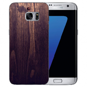 Samsung Galaxy S6 Edge TPU Hülle mit Bilddruck HolzOptik Dunkelbraun