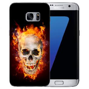 Samsung Galaxy S6 Edge + TPU Silikon mit Fotodruck Totenschädel Feuer