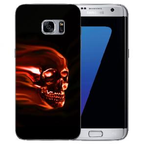 Samsung Galaxy S6 Edge Plus TPU Silikon mit Fotodruck Totenschädel