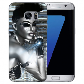 Samsung Galaxy S6 Edge Silikon TPU Hülle mit Bilddruck Robot Girl