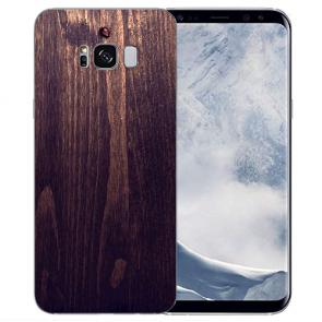 Samsung Galaxy S8 TPU Silikon Hülle mit Bilddruck HolzOptik Dunkelbraun