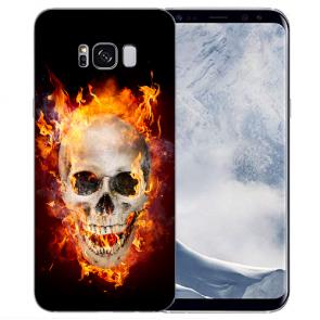 Samsung Galaxy S8 Plus TPU-Silikon mit Bilddruck Totenschädel Feuer
