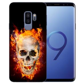 Samsung Galaxy S9 Plus TPU Silikon mit Totenschädel Feuer Bilddruck