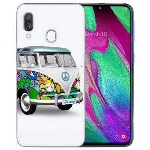 Samsung Galaxy A20 Silikon TPU mit Bilddruck Hippie Bus Etui