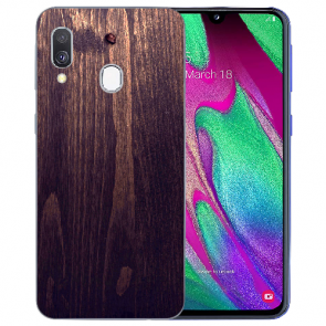 Samsung Galaxy A40 TPU Hülle mit Bilddruck HolzOptik Dunkelbraun