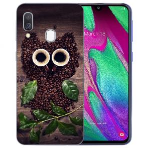 Samsung Galaxy A40 TPU Handy Hülle mit Bilddruck Kaffee Eule
