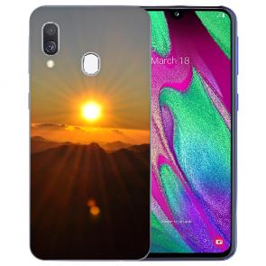 Samsung Galaxy A40 TPU Handy Hülle mit Bilddruck Sonnenaufgang