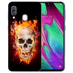 Samsung Galaxy A20e TPU Handy Hülle mit Bilddruck Totenschädel Feuer