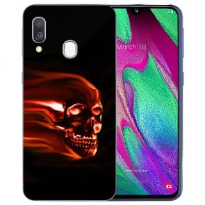 Samsung Galaxy A40 TPU Handy Hülle mit Bilddruck Totenschädel