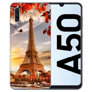 Silikon TPU Hülle für Samsung Galaxy A50s mit Bilddruck Eiffelturm