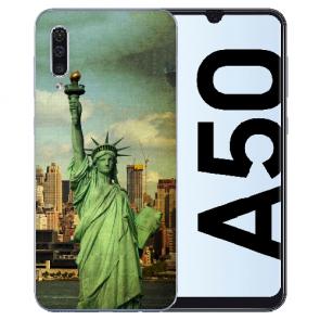 Silikon Hülle für Samsung Galaxy A50s mit Bilddruck Freiheitsstatue