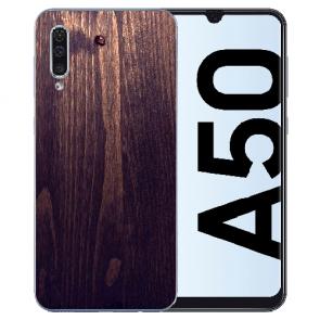 Samsung Galaxy A50s TPU Hülle mit Fotodruck HolzOptik Dunkelbraun