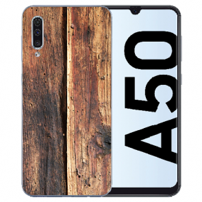 Silikon TPU Hülle mit Fotodruck HolzOptik für Samsung Galaxy A50s