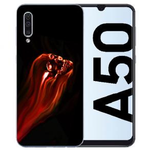 Samsung Galaxy A50s Silikon TPU Hülle mit Fotodruck Totenschädel Etui