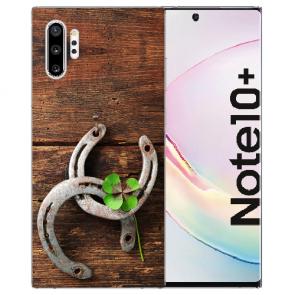 Samsung Galaxy Note 10 + Silikon Hülle mit Fotodruck Holz hufeisen