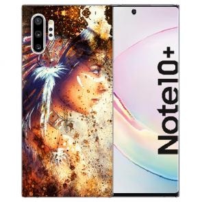 Samsung Galaxy Note 10 + Silikon Hülle mit Fotodruck Indianerin Porträt