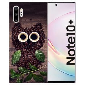 Samsung Galaxy Note 10 Plus Silikon Hülle mit Fotodruck Kaffee Eule