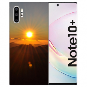 Samsung Galaxy Note 10 + Silikon Hülle mit Fotodruck Sonnenaufgang