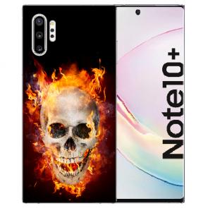 Samsung Galaxy Note 10 + Silikon Hülle mit Fotodruck Totenschädel Feuer