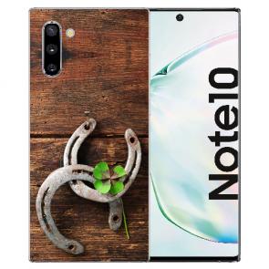 Samsung Galaxy Note 10 Silikonhülle TPU mit Fotodruck Holz hufeisen