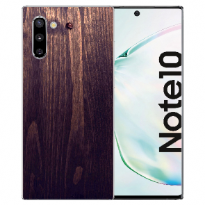 Samsung Galaxy Note 10 TPU Hülle mit Fotodruck HolzOptik Dunkelbraun